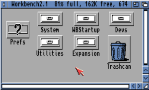 Workbench 2.1 disk contents, under Kickstart 2.0