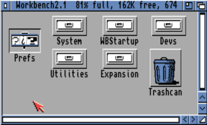 Workbench 2.1 disk contents, showing the Prefs drawer selected, under Kickstart 2.0