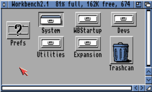 Workbench 2.1 disk contents, showing the System drawer selected, under Kickstart 2.0