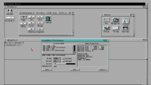 Workbench 2.1 on a 1280x512 screenmode, with size 15 fonts selected.