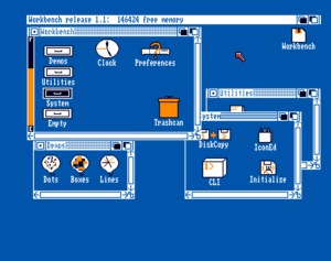 THe contents of the Workbench 1.1 disk opened, along with the contents of the Utilities, System and Demos drawers.