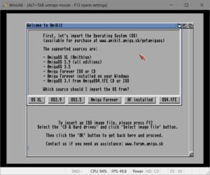 Before we can use AmiKit X, we need to finish the Amiga software side by providing a source of the Amiga Workbench files, which can't be distributed with AmiKit X. Once again, this is all made as painless as possible, and a fair number of possible sources for these files are supported.