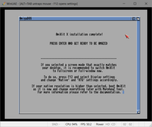 AmiKit X installation and configuration is now complete. This gives us our final look at the default look of Amiga Workbench 3 before we press Enter to reboot the emulated Amiga and start up AmiKit X for the first time.